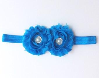 Baby girl headband; blue  baby girl headband; blue headband; baby headband