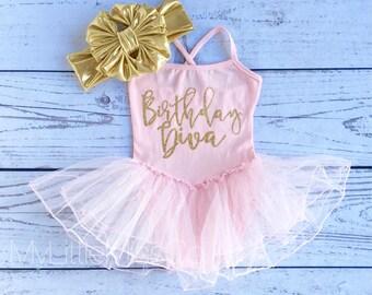 Glitter Leotard Tutu Birthday Diva First Birthday Tutu, birthday girl'