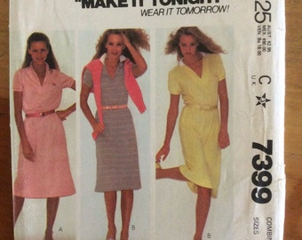 McCall's Make it Tonight Wear it Tomorrow 7399 dress pattern size 10-14 uncut