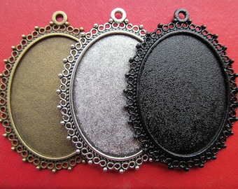 30x40mm Pendant Tray, Bezel Setting, 30x40mm Cabochon Tray - Antique Bronze,Antique Silver,Black