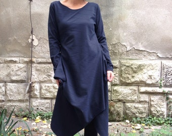 Womens  Asymmetrical Top / Long Sleeve Tunic / Extravagant Casual  Top/Asymmetrical mini dress-tunic navy blue
