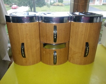 Vintage 1960s Mid Century Kromex Faux Wood Metal 4 Piece Canister Set With Lids!