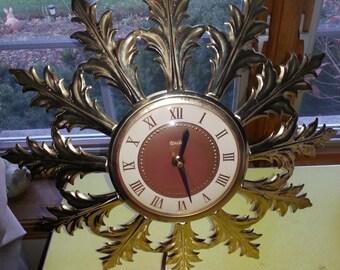 Vintage 1960s Model 99 United Electric Gold Leaf Wall Clock WORKS!