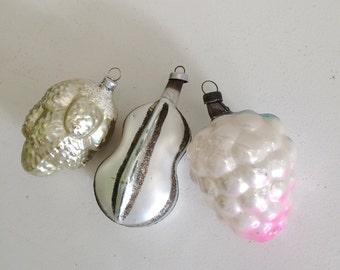 3 Old Vintage European Christmas Glass Ornaments