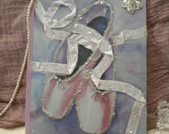Shabby Chic Decor Altered Journal Ballet Shoes
