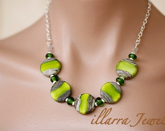 Green and Silver Acid Etched Lampwork Disk Bead Necklace strung on Sterling Silver Plated Chain - OOAK