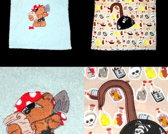 with appliqué and embroidered baby bib reversible elastic theme pirate