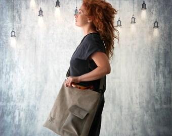 Gray Leather Bag, Women 7Handbag, Laptop Bag, Leather Handbag, Shoulder Bag, Messenger Bag, Women's Leather Bag, Trending Bag, Double Bag
