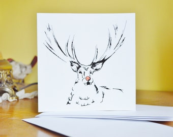 Ink and Pen Reindeer Card