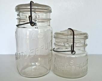 1930s Atlas E-Z Seal Glass Canning Jars. Set of 2 Wire Bail Jars with Lids Made by Hazel Atlas. Quart and Pint.