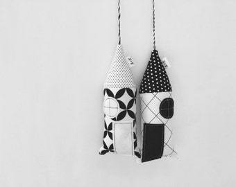 Little House Pillows in Black and White Cotton - Little fabric houses or ornaments for room decoration - Miniature houses - fabric ornaments