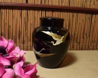 Japanese Ginger Jar Shape  Tea Canister / Tea Caddy Black / Cranes