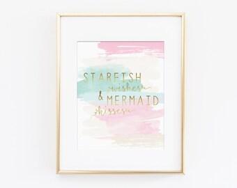Mermaid Nursery Decor, Mermaid Nursery Art Print, Starfish Wishes and Mermaid Kisses, Mint Nursery, Pink Nursery, Girls Nursery Art Print