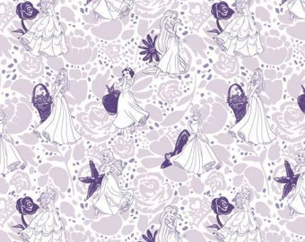 Disney's Princess Purple Lines cotton fabric, Camelot Fabrics