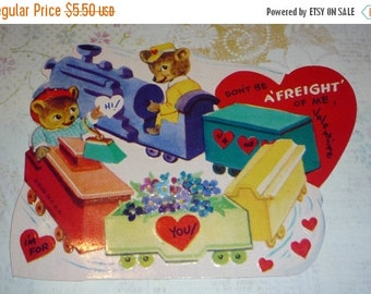 on sale Cute Little Bears On A Train - Don't Be A Freight of Me Valentine-I'm For You!  Vintage Card