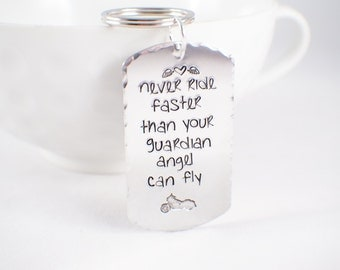 Motorcycle Keychain - Born to Ride - Life is a beautiful Ride - Motorcycle Pendant - Guardian Angel necklace
