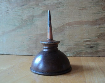 Little Oil Can Copper Color Thumb Oiler for Sewing Machines and Small Spaces Great Condition Vintage Patina Man Cave and Garage Home Decor