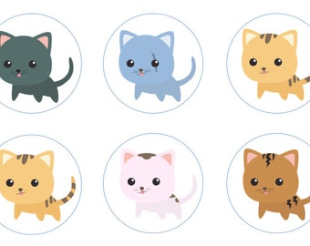 Cute Kittens Edible Cupcake Topper Decorations - Set of 12 Toppers