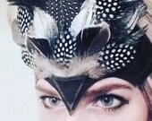 Villain like, Leather venetian headpiece, masquerade, feather headband, headpiece, headdress