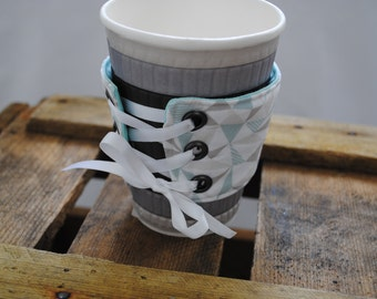 Coffee cup cuff - fabric corset style handmade (UK based)