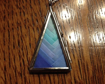 Shades of the Evening Sea Triangle Quilt Necklace