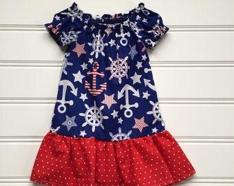 Anchor Baby Girl Dress, Anchor Dress, Red White Blue Dress, Toddler Dress, Girls Nautical Dress, Girls Peasant Dress, Toddler Girl Dress