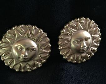 Celestial Earrings-Sun Face-Vintage Brass-Statement Jewelry