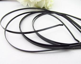 3 mm ( 1/8 inch)  Black Metal Headbands  / Black Headband MHBD-03