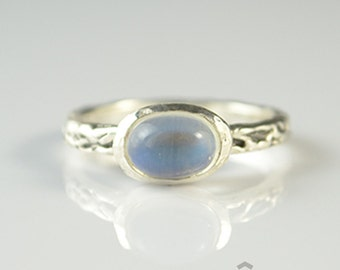 Fantasy blue sheen moonstone one of a kind sterling silver ring
