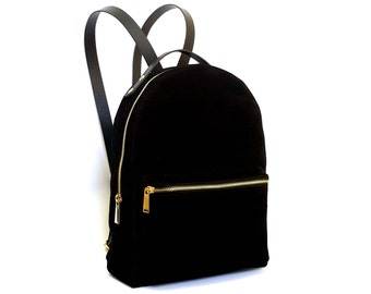 Leather backpack, black bag, leather rucksack, backpack