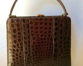 Vintage Brown Alligator Handbag