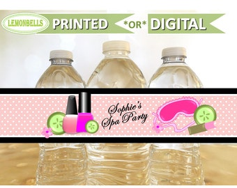 Spa Water Bottle Labels, Spa Party Water Bottle, Spa Birthday Party, Spa Party Favors, Spa Party Gifts, Mani Pedi Party, LemonBells WS01