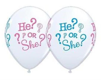 He or She balloons, He? Or She? Balloons, gender reveal balloons, gender reveal decorations, what will baby be balloons, baby balloons