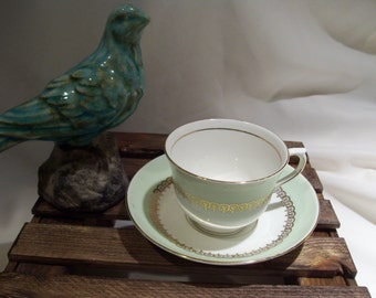 Colclough Pale Green,White and Gold Teacup and Saucer,Bone China