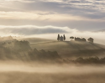 Spellbound, Vitaleta Fog, Chapel, Tuscan Landscape, Tuscany, Italy, Cypress Trees, Church, Val d'Orcia - Travel Photography, Print, Wall Art