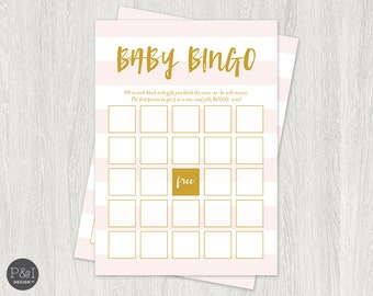 Baby Shower Bingo | Pink and Gold | Baby Shower Downloads and Games | Instant Download (5x7)