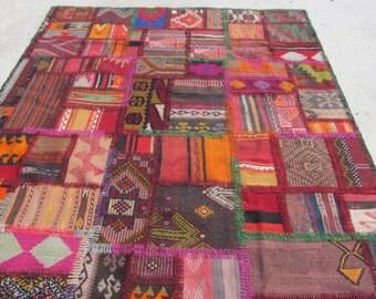 "Turkish kilim Patchwork Area Kilim Rug -Hand stitched 102""X66""turkey rug"
