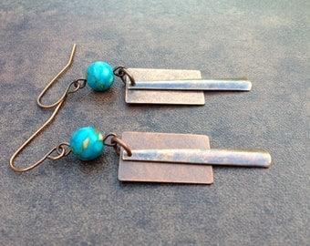Copper Drop Earrings / Earthy Turquoise Earrings / Handmade Jewelry / Metal Earrings / Rustic Earrings / Geometric Earrings