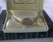 "Vintage ""Bernie"" Nameplate Bracelet by Speidel in the original box, 1950s Silver Bernie Bracelet, Excellent condition"