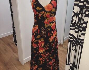 1960s 1970s Abstract Floral Empire Halterneck Maxi Dress