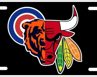 Custom License Plate Chicago sports teams combined logos chicago Bears Hawks Bulls Cubs