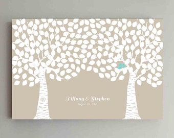 225 Guest Wedding Guest Book Wood Two Double Tree Wedding Guestbook Alternative Guestbook Poster Wedding Guestbook Poster - Beige Kraft