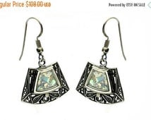 SALE HOLIDAYS 5776 Trapezoid Shaped Silver Earrings with Roman Glass