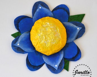 Blue Flower Wall Decor - Paper Mache Flower Art - Spring Flowers For Wall Hanging Decorations - Teen Girl Room Decor- Flower Girl Gift Ideas