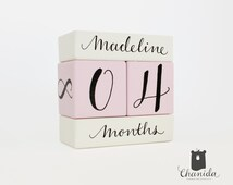 Baby Age Block wooden block photo prop Personalized  baby shower gift for new born chirldren boys girls