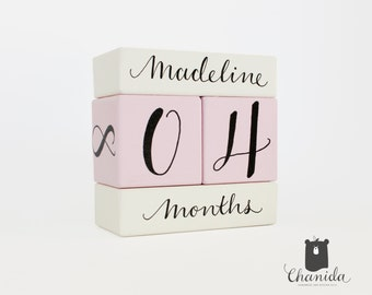Baby age blocks etsy baby age block milestone block personalized photo prop baby shower gift for new negle Gallery