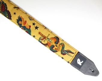 Tattoo Guitar Strap - Sailor Jerry - Skulls, Swords, and Hearts