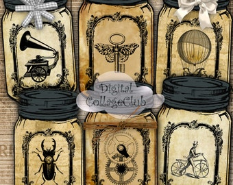 Steampunk Mason Jar Digital Labels Tags Cards Scrapbooking Decoupage ATC Aceo Digital Collage Sheet Instant Download Printable