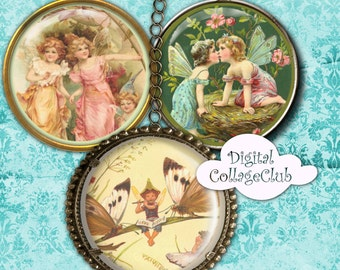 Vintage Fairies Digital Collage Sheet 1.5 inch Images for Jewelry Round Circles Digital Fairies and Pixies Fairy Clipart