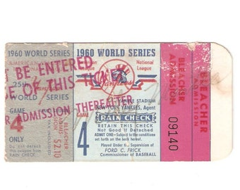 1960 World Series Ticket Stub VG